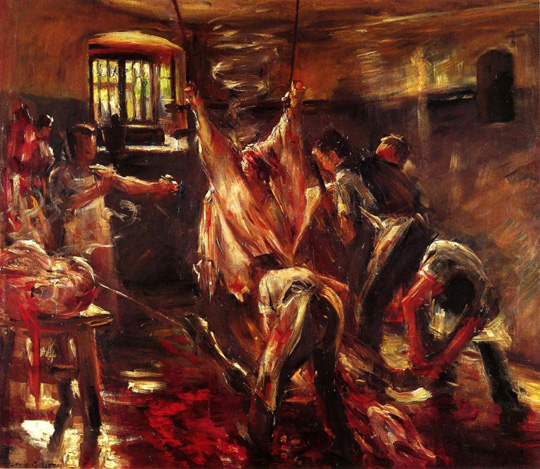 In the Slaughter House by  Lovis Corinth.  1893
