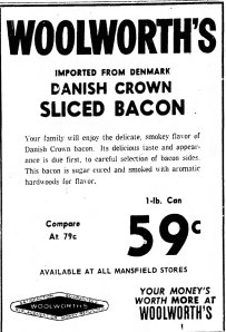 Advert for Danish Crown Bacon.  From Mansfield News Journal, Thursday, 1 March 1962