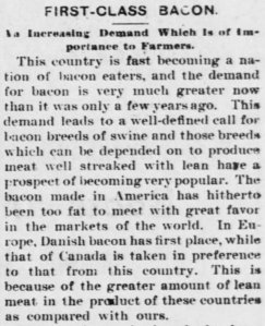 Danish bacon rated as the best in the world.  From The Iola Register, Friday, 22 Nov 1895