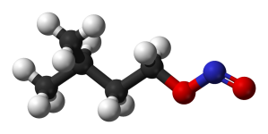 Ball-and-stick model of Amyl nitrite used in the production of nitroglycerin. Amyl nitrite is produced with sodium nitrite. The diagram shows the amyl group attached to the nitrite functional group.