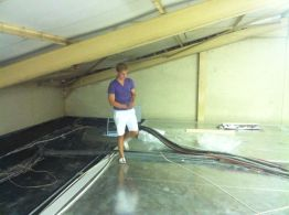 Tristan, inspecting the new freezer ceiling.