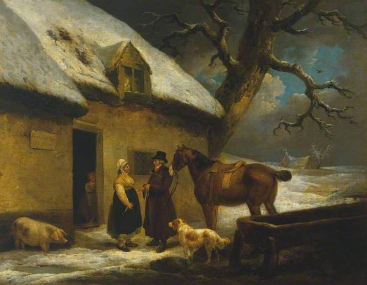 Outside an Inn, Winter George Morland 1795.jpg
