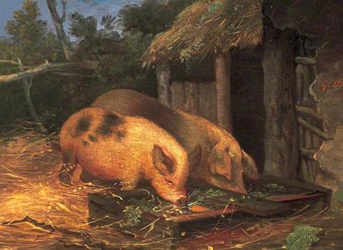 Pigs at a Trough, George Morland.jpg