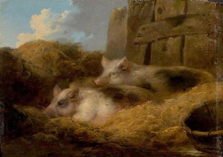 Two Pigs in Straw (Barn with Pigs) George Morland.jpg