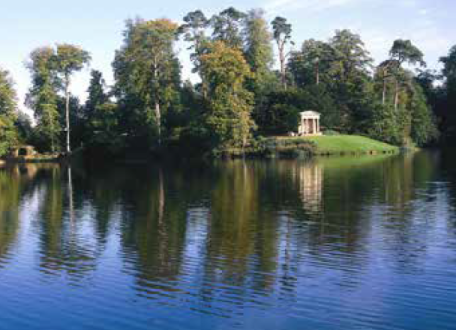 The grotto and Doric Temple beside the lake © Bowood Estate
